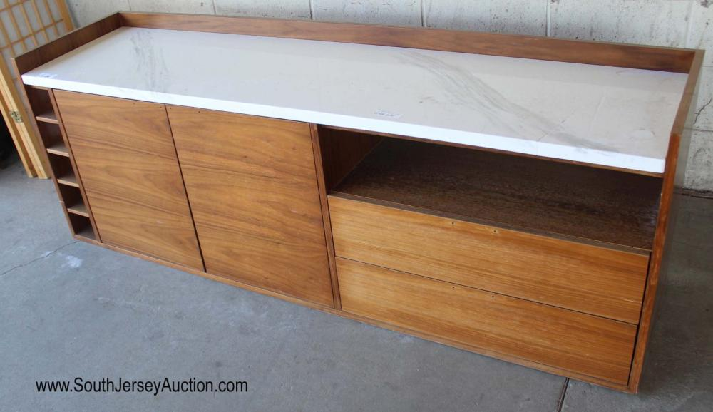 Mid Century Modern Style Marble Top Floating Buffet