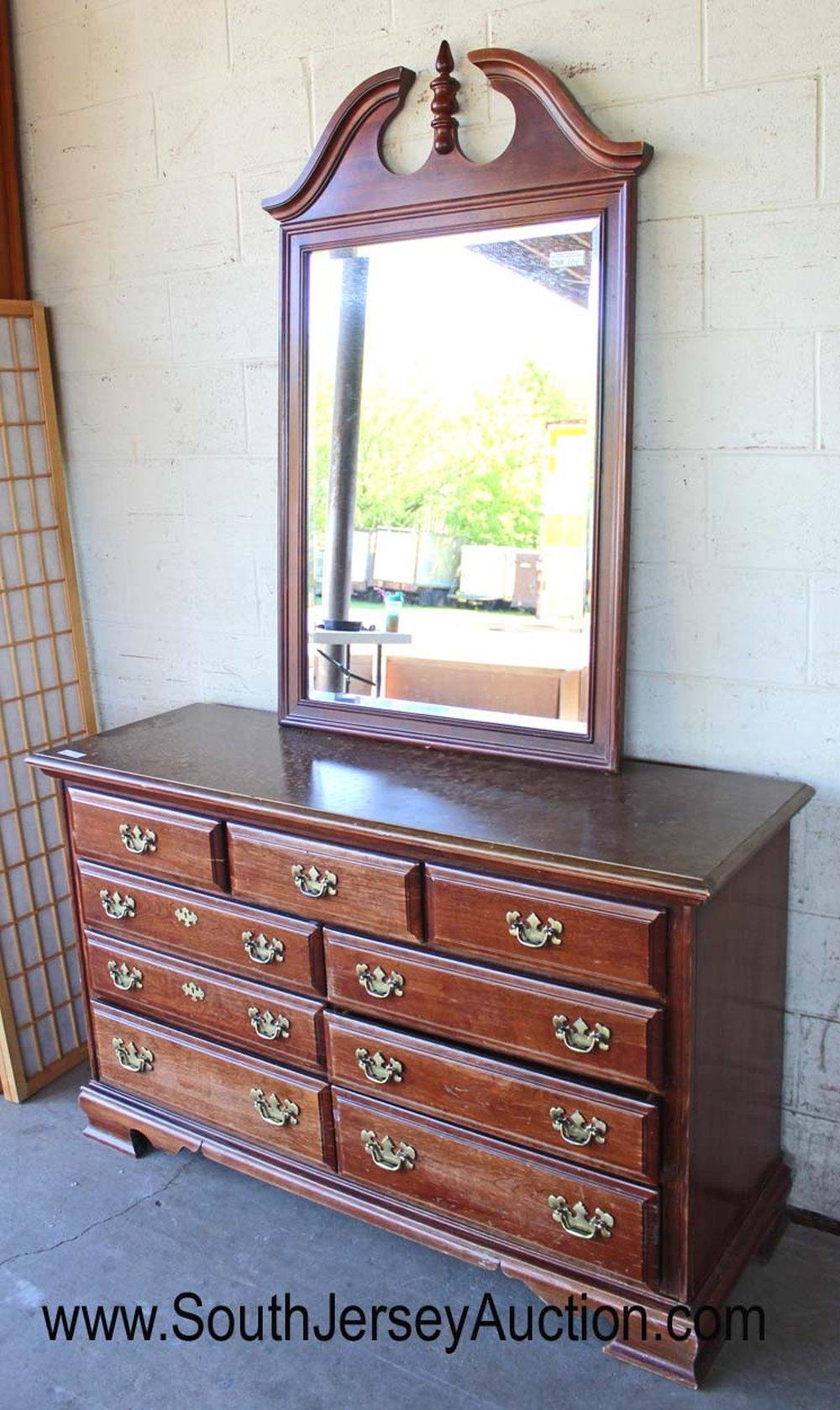 Contemporary Solid Cherry Bracket Foot Low Chest with Mirror by Dixie Furniture