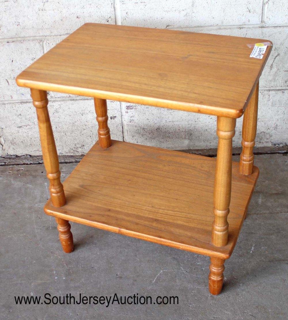 Contemporary Oak Finish 2 Tier Lamp Table