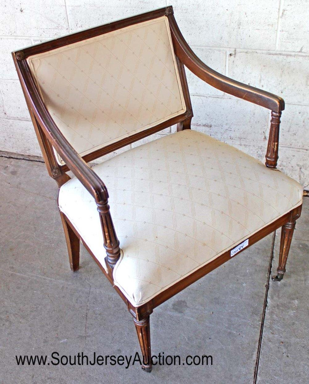 Upholstered Mahogany Frame Arm Chair