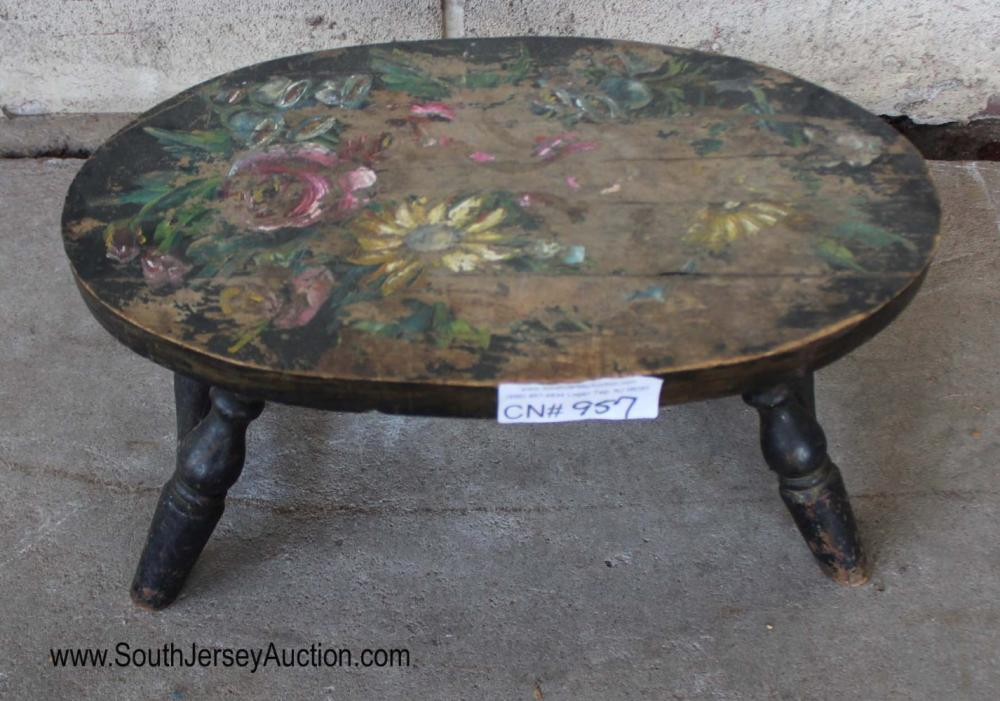 Antique Stenciled Cupboard Stool