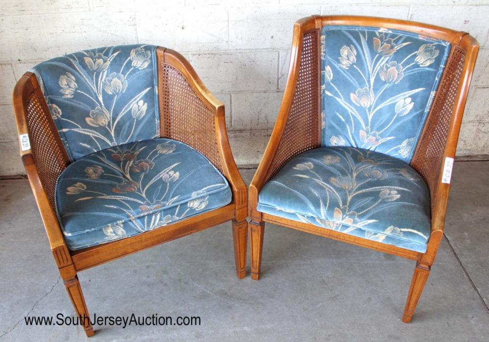 Pair of Vintage Upholstered and Cane Chairs