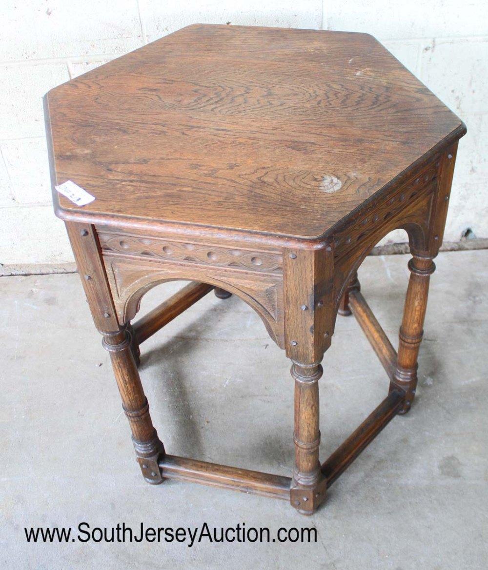Antique Oak Octagon Parlor Table