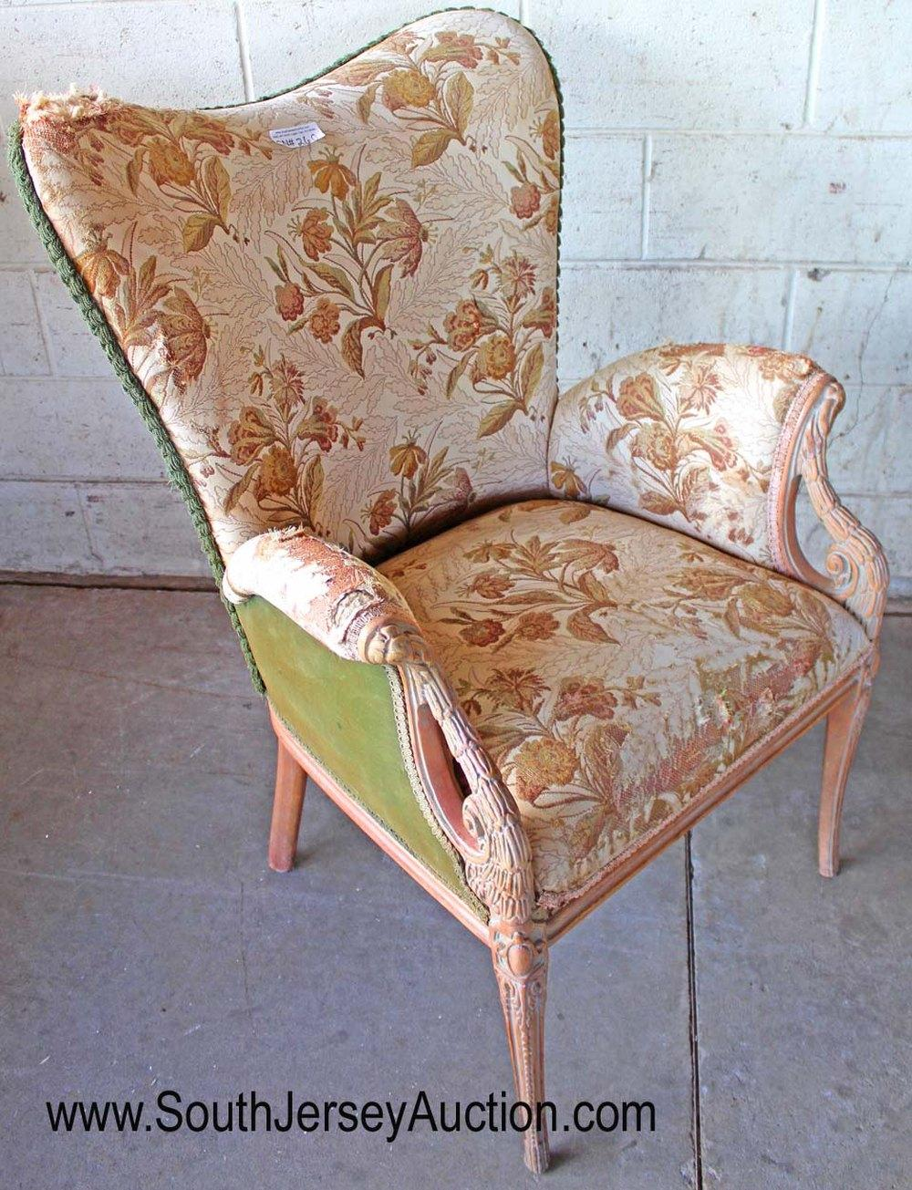 Semi Antique Carved Mahogany Framed Wing Chair