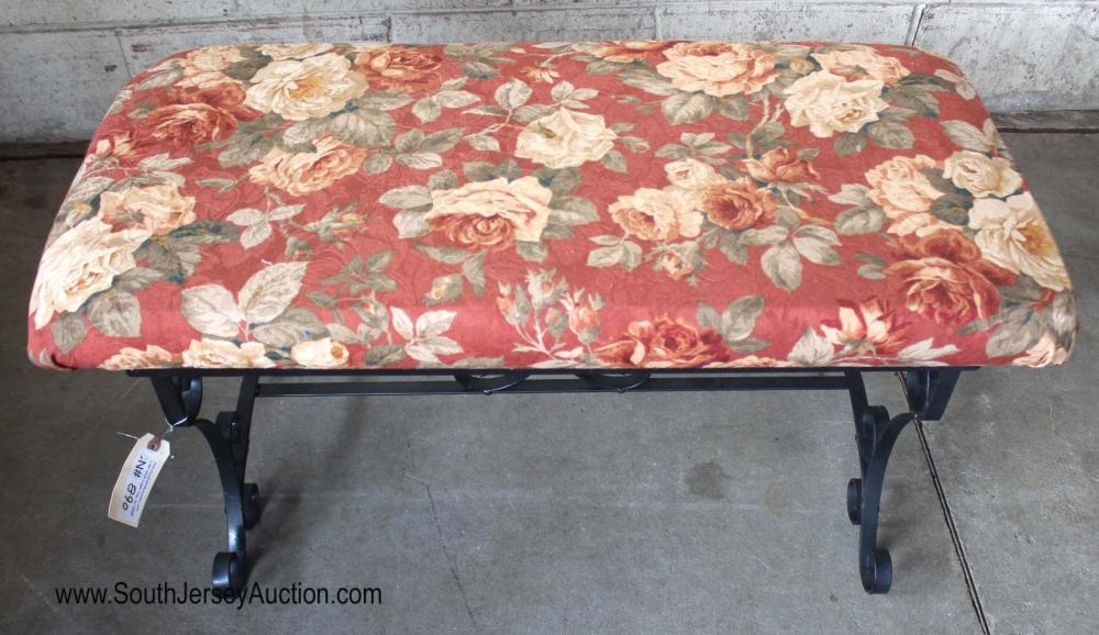 Iron Base Upholstered Fire Place Bench