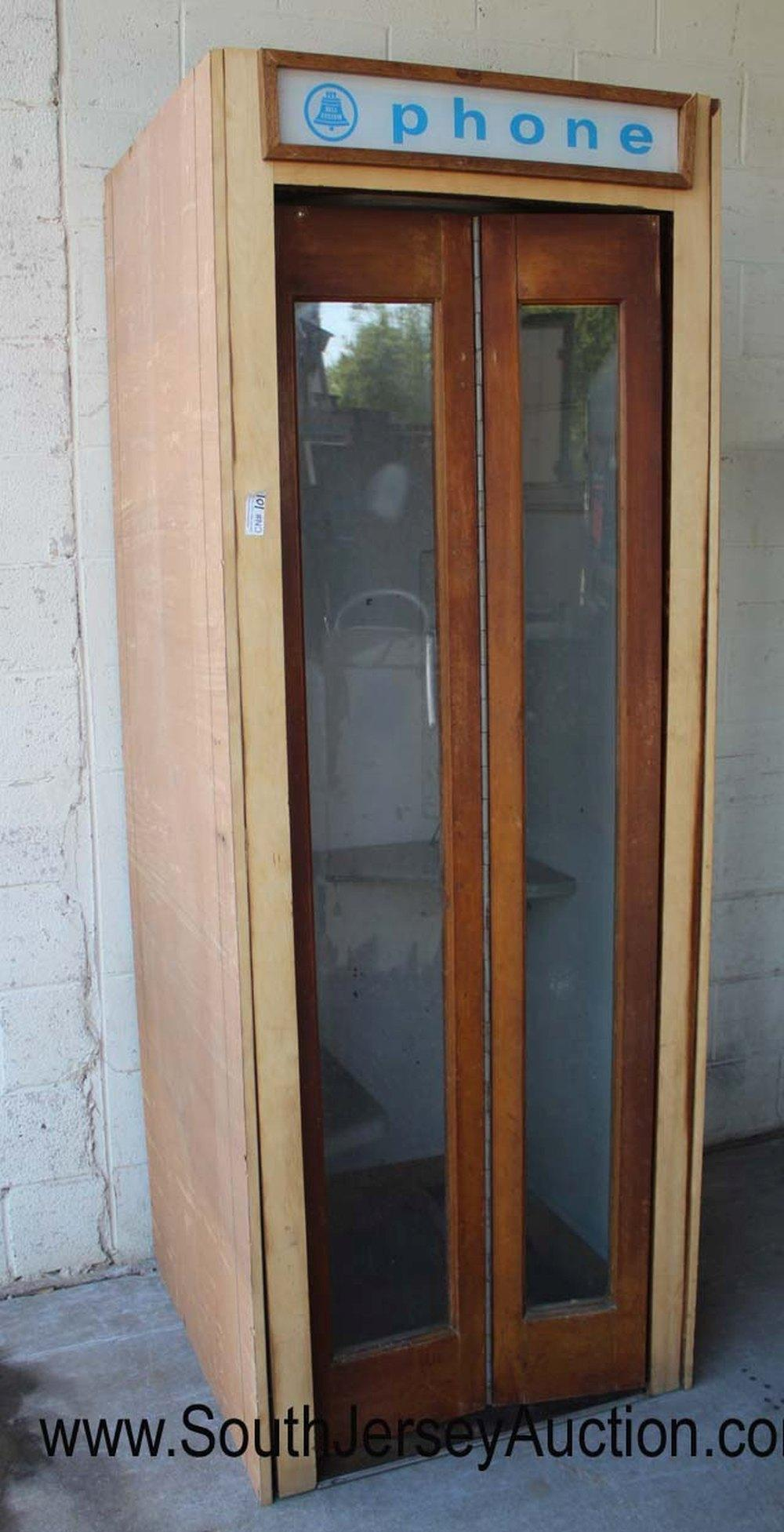 Vintage Mahogany Case Bell Telephone Booth with Original Sign, Light, and Fan