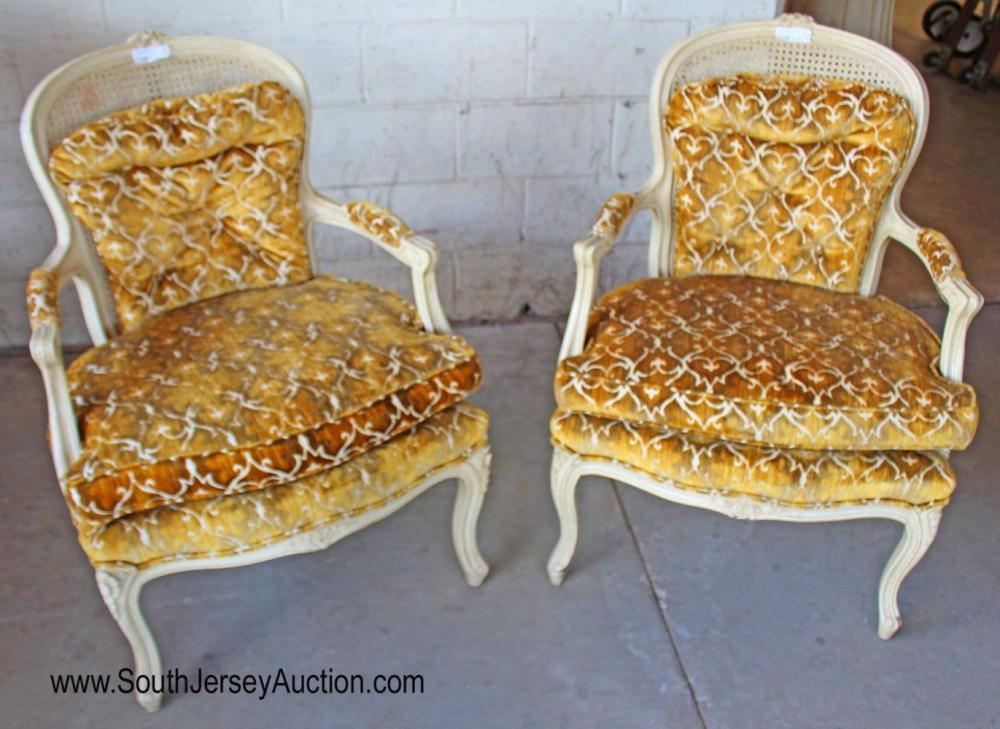 Pair of French Style Upholstered Arm Chairs