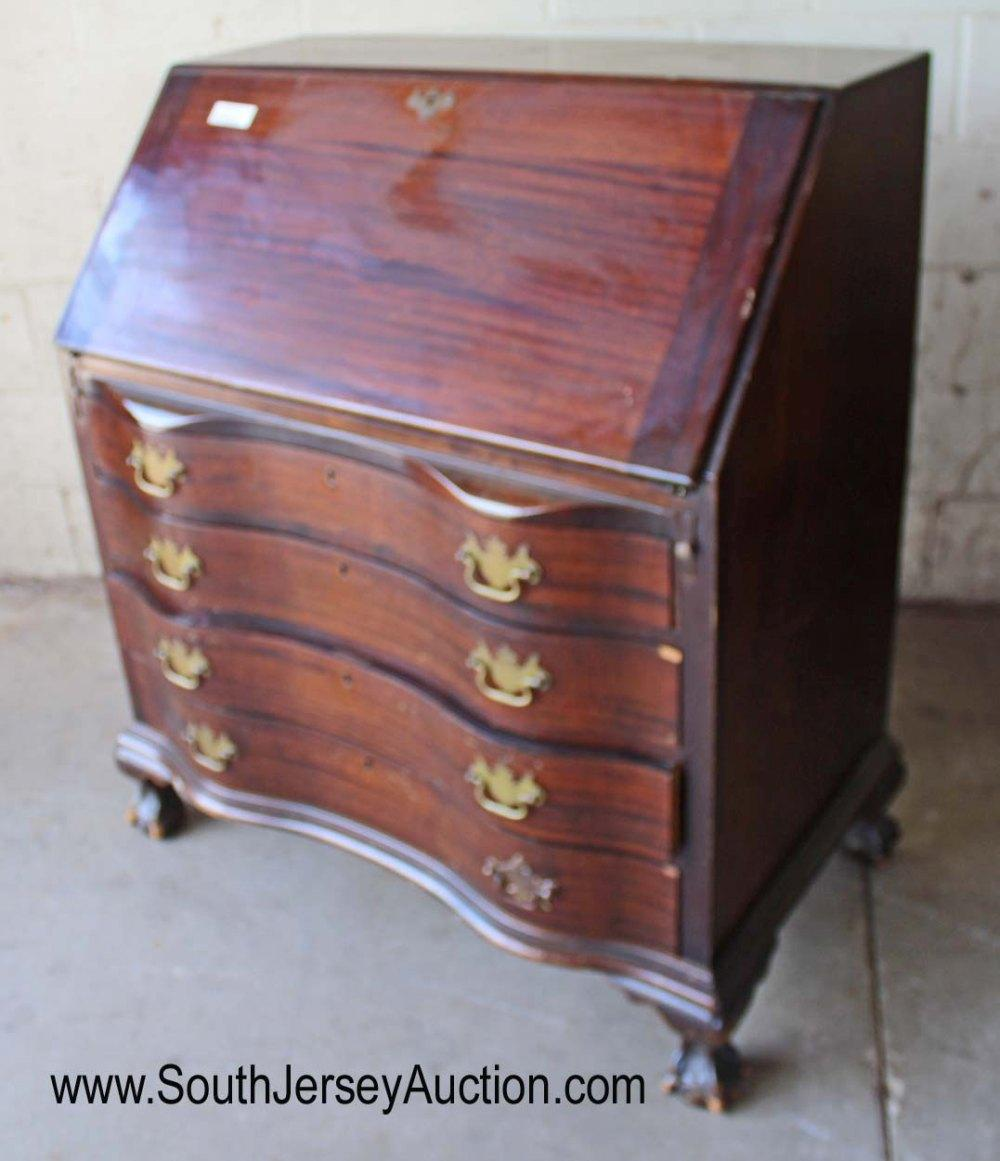 Solid Mahogany Ball and Claw Slant Front Desk by Maddox Furniture