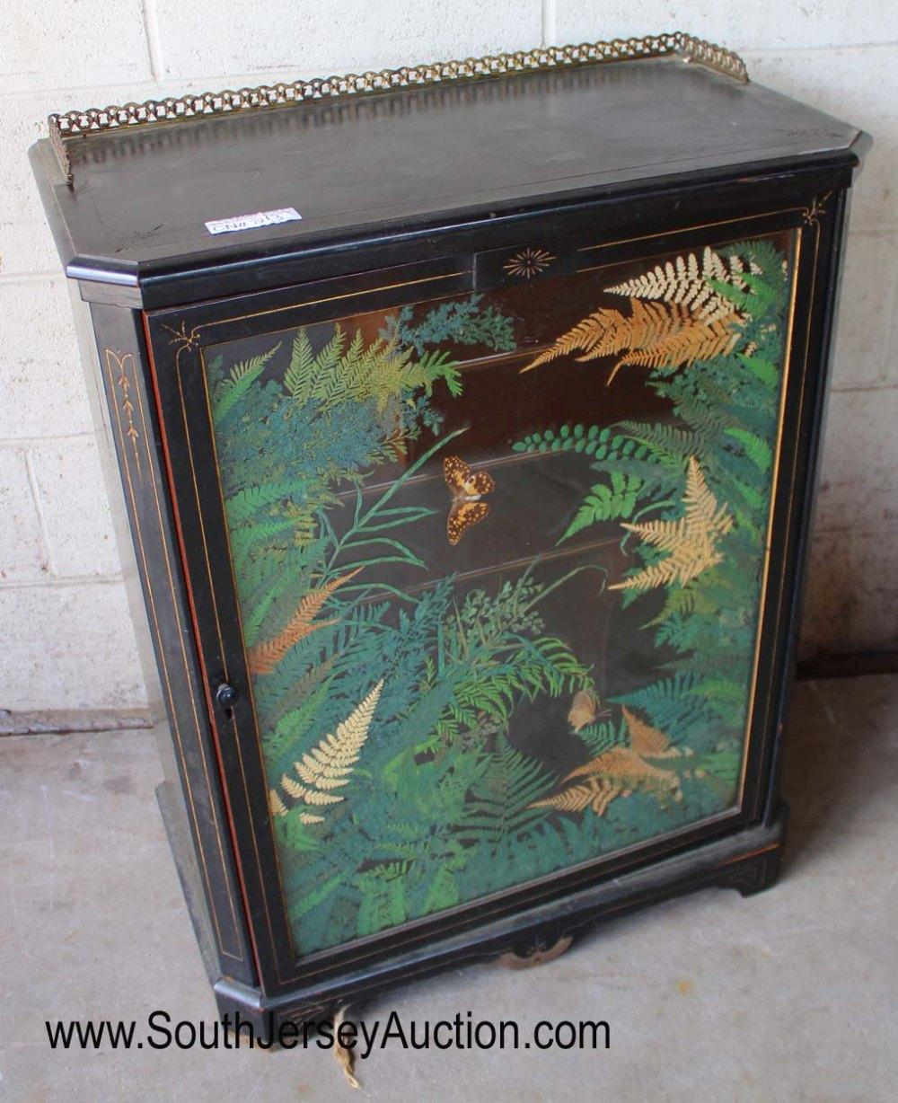 Black Ebonized Asian Inspired Music Cabinet with Brass Gallery