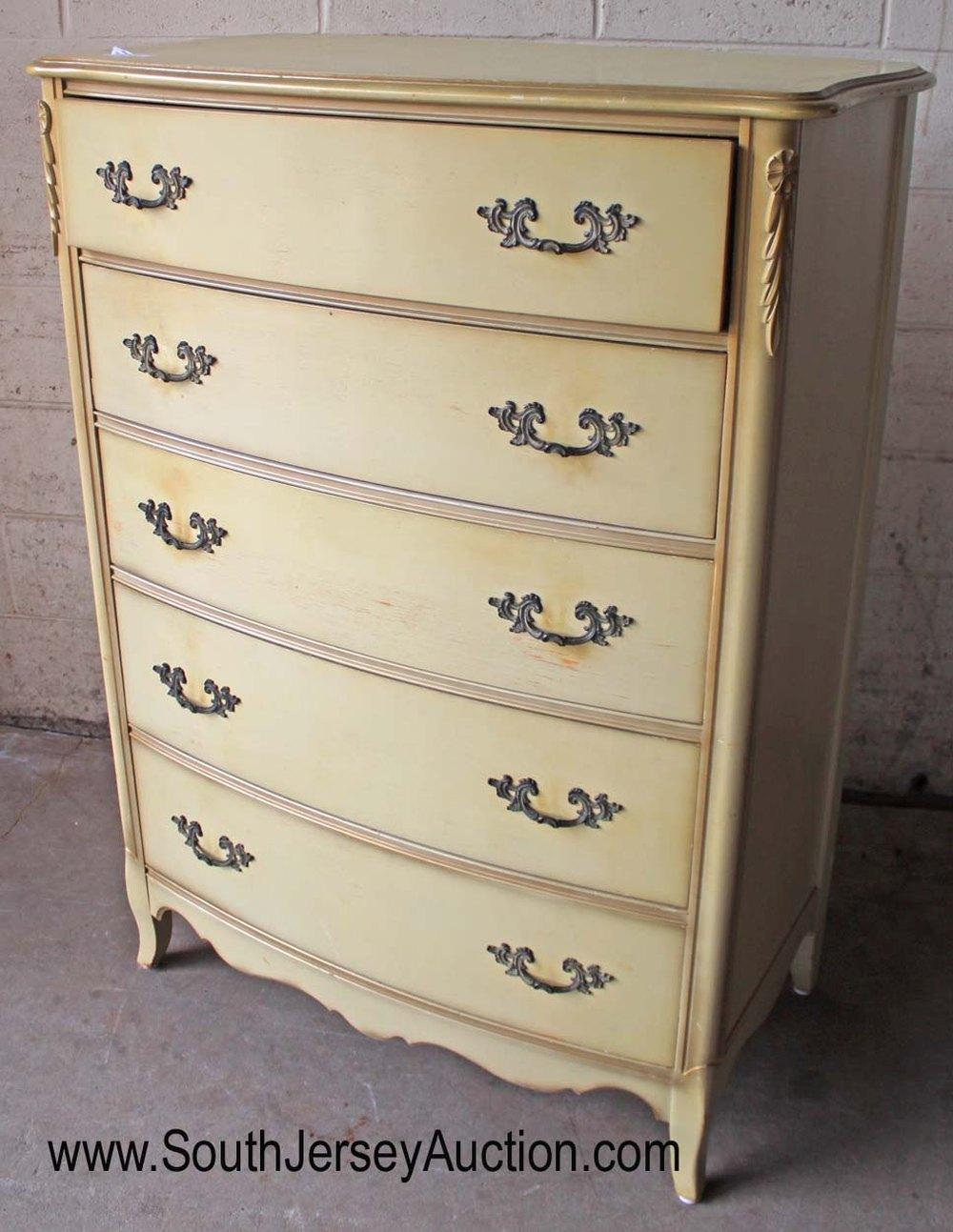 French Provincial Painted 5 Drawer High Chest