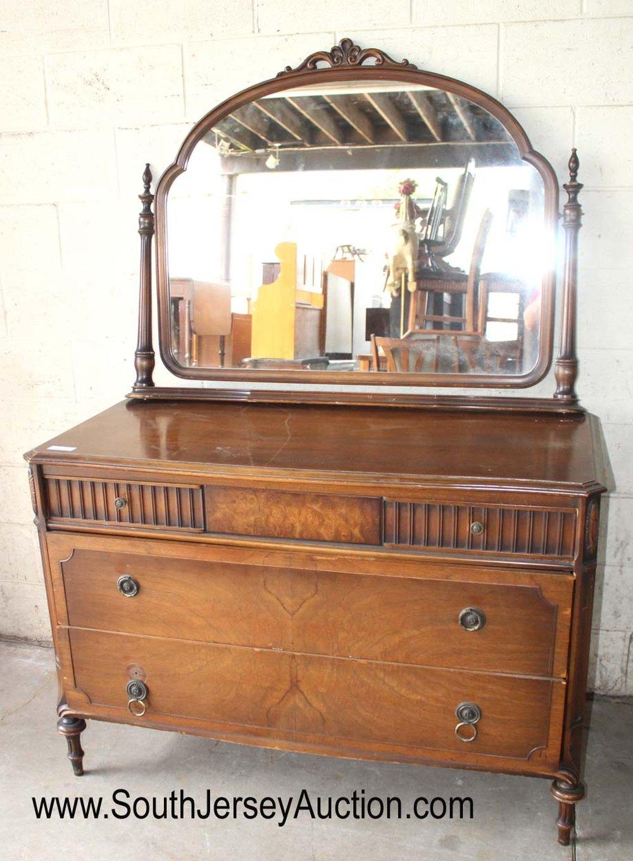 Depression Walnut 2 Tone Dresser with Mirror