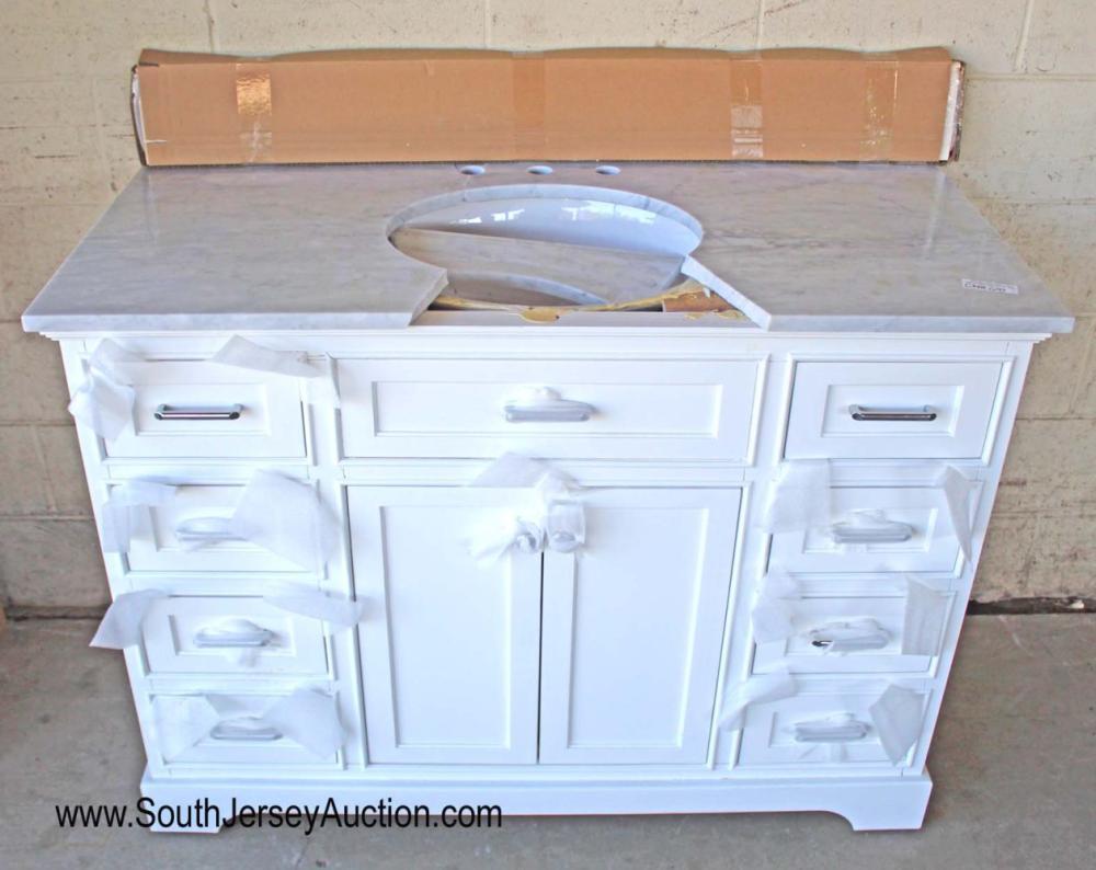 """48"""" Marble Top 8 Drawer 2 Door Bathroom Vanity - As Is"""