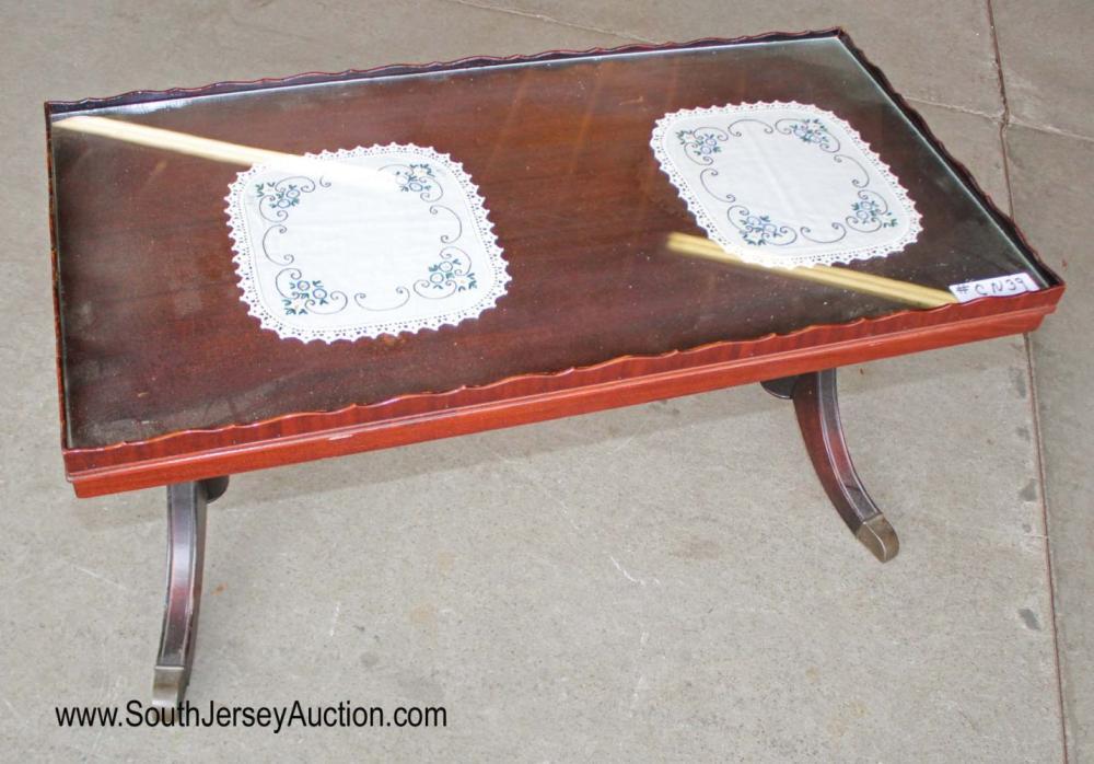 Vintage Glass Top Mahogany Coffee Table