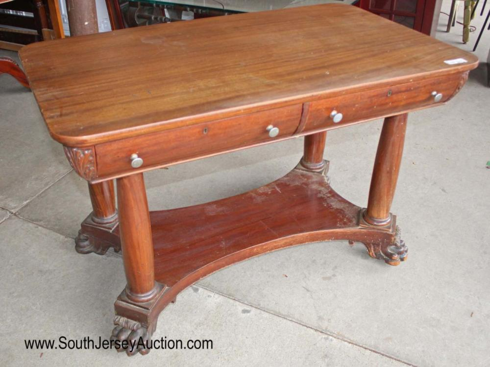 Antique Solid Mahogany Paw Foot 2 Drawer Library Table with Carved Corners