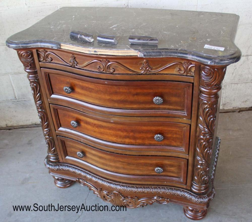 Contemporary Carved Mahogany Finish Marble Top 3 Drawer Bachelor Chest - As Is
