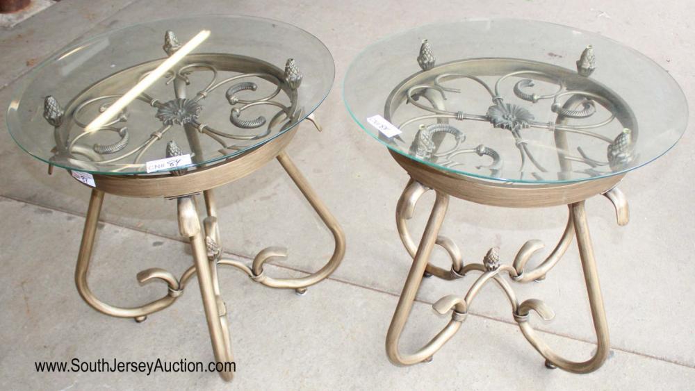 Pair of Glass Top Metal Base Lamp Tables