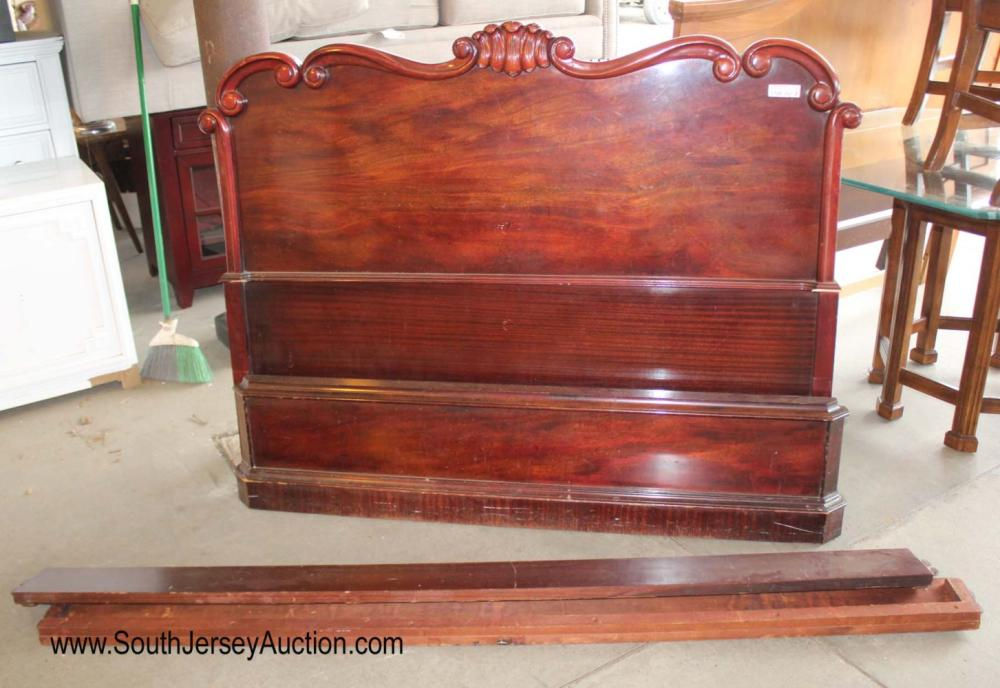 Vintage Full Burl Mahogany Head Board and Foot Board with Rails