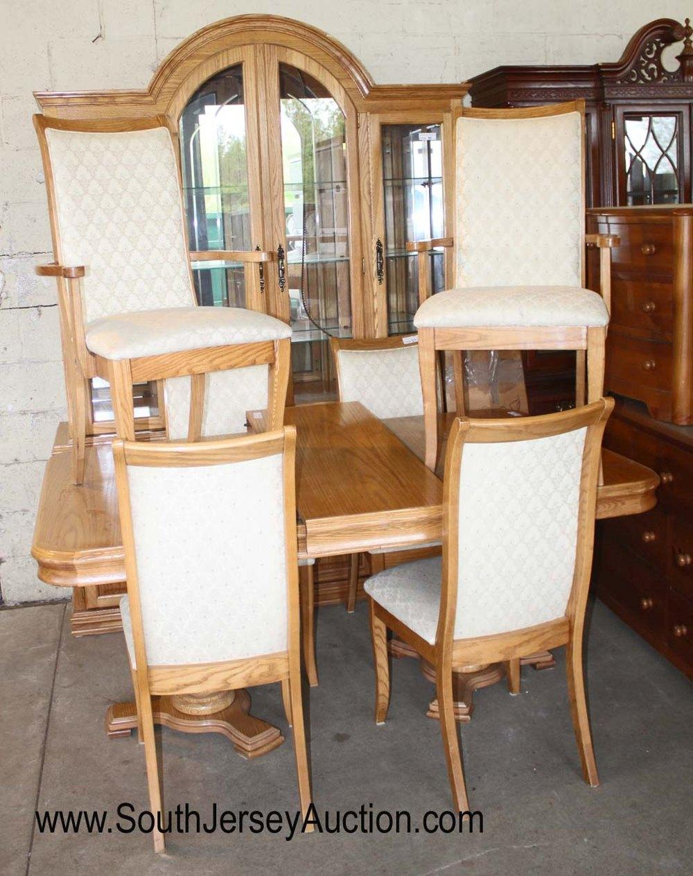 """Contemporary 8 Piece Oak Dining Room Set - Table with 6 Chairs and 2 Piece Etched China Cabinet and (1) 16"""" Leaf"""