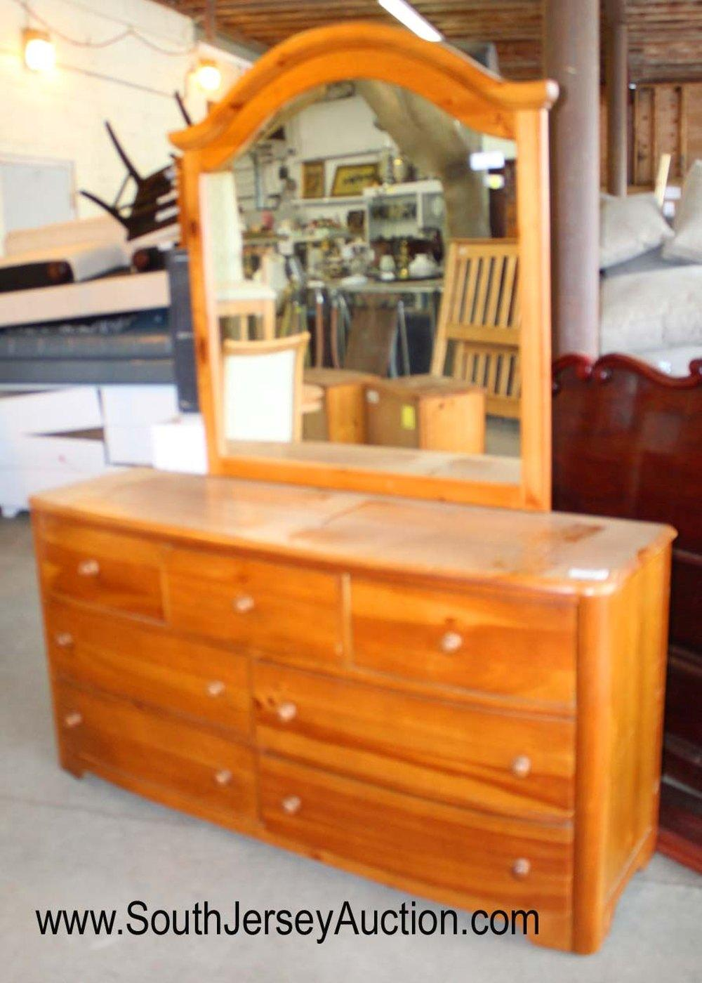 Pine Country Style Dresser with Mirror by Stanley Furniture