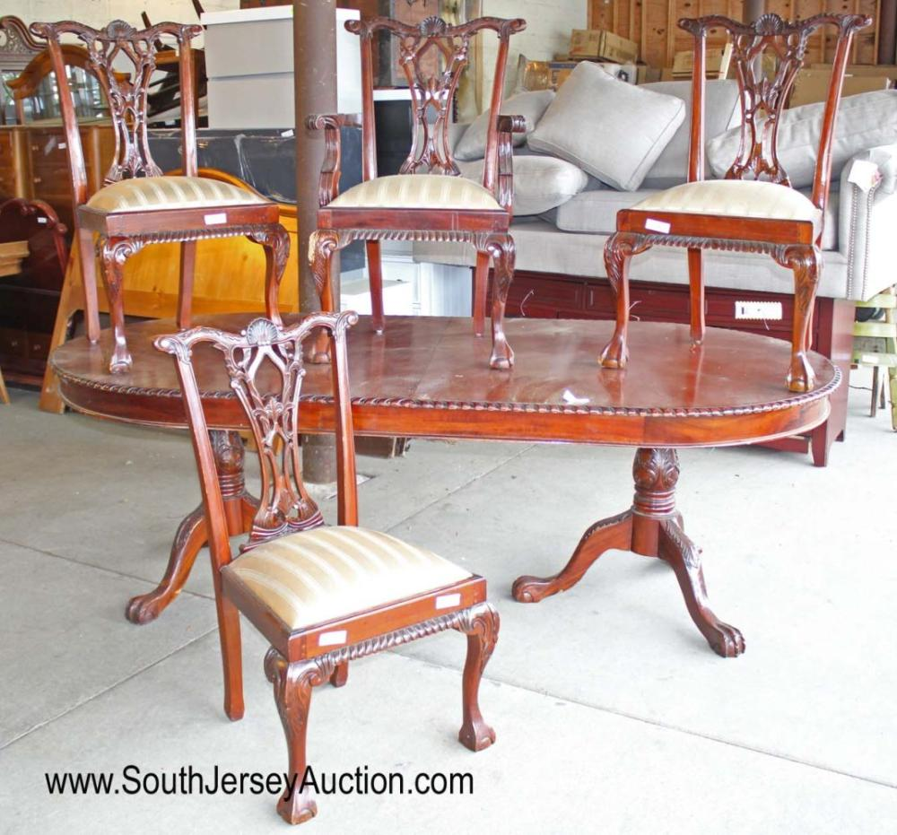 5 Piece Solid Mahogany Ball and Claw Double Pedestal Oval Dining Room Table with 4 Chippendale Style Chairs