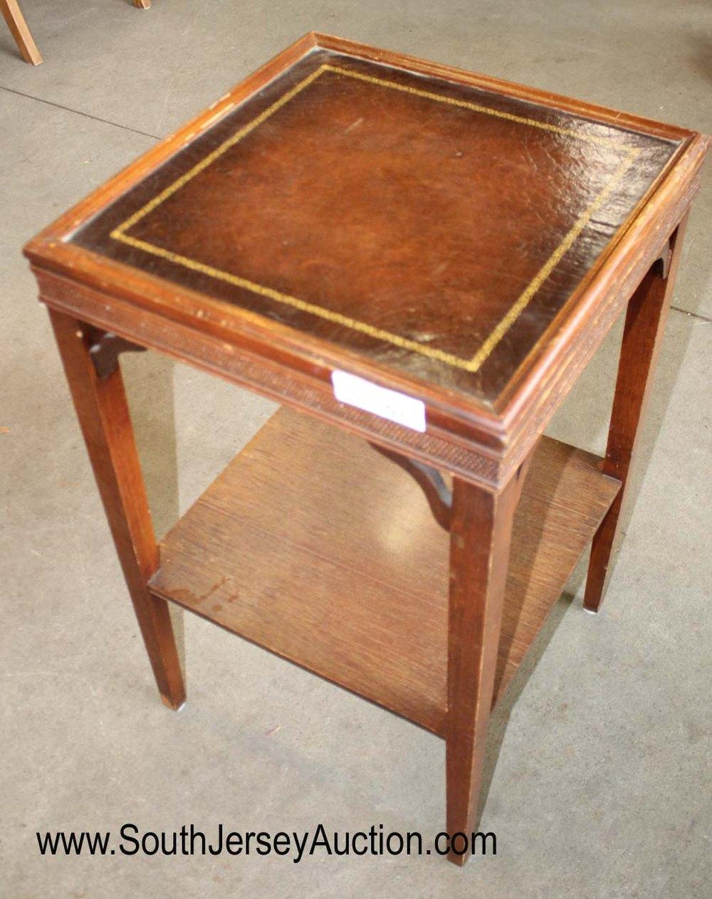 Vintage Leather Top Mahogany Lamp Table