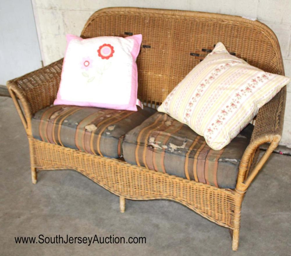 Vintage Wicker Loveseat with Cushions
