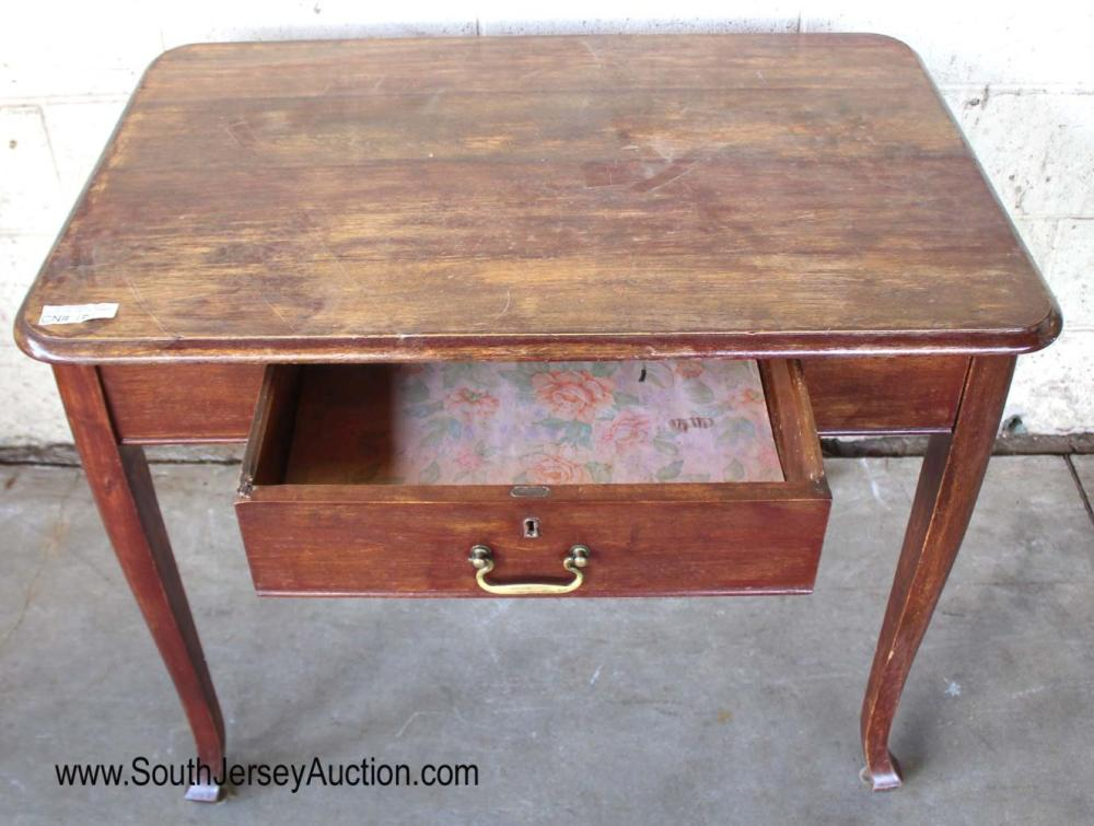 Antique Solid Mahogany Queen Anne 1 Drawer Writing Desk
