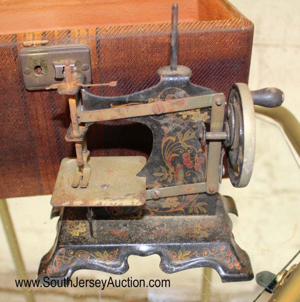 Antique Miniature Sewing Machine in Wood Box