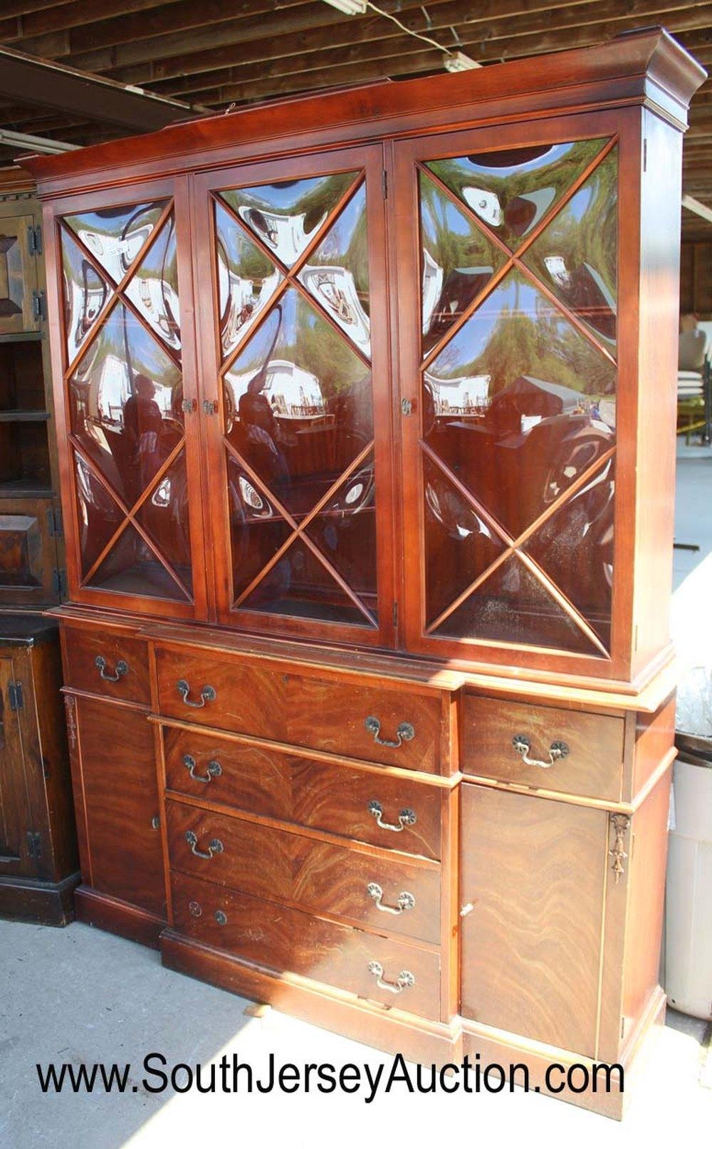 Mahogany 3 Door Bubble Glass China with Desk