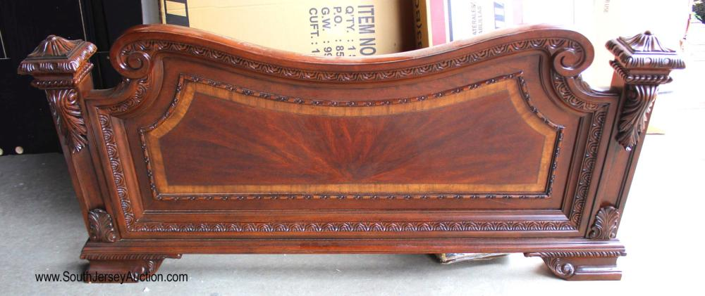 Mahogany Banded Carved Foot Board Only