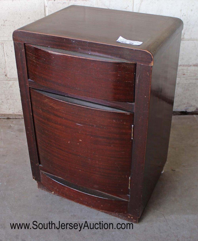 Mid Century Mahogany 1 Drawer 1 Door Night Stand