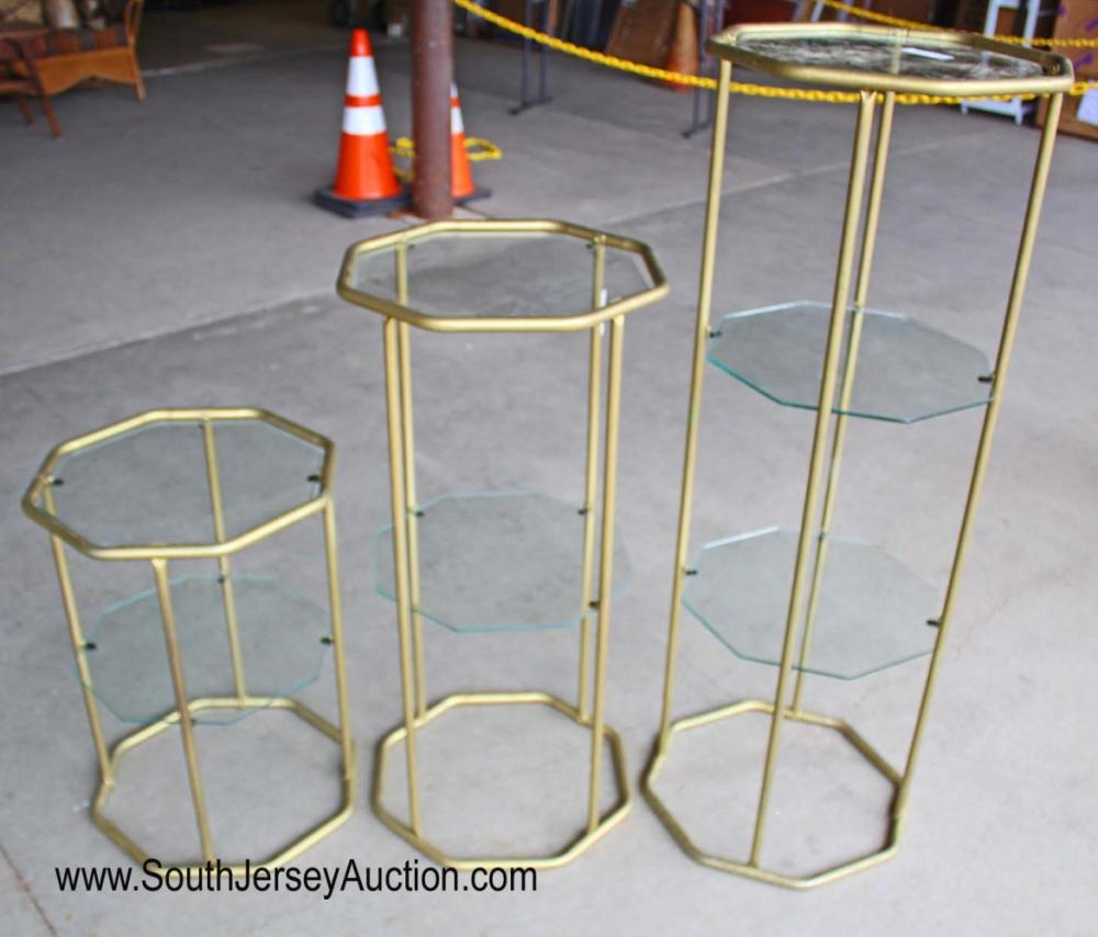 Set of 3 Vintage Mid Century Modern Glass Top Tier Stands