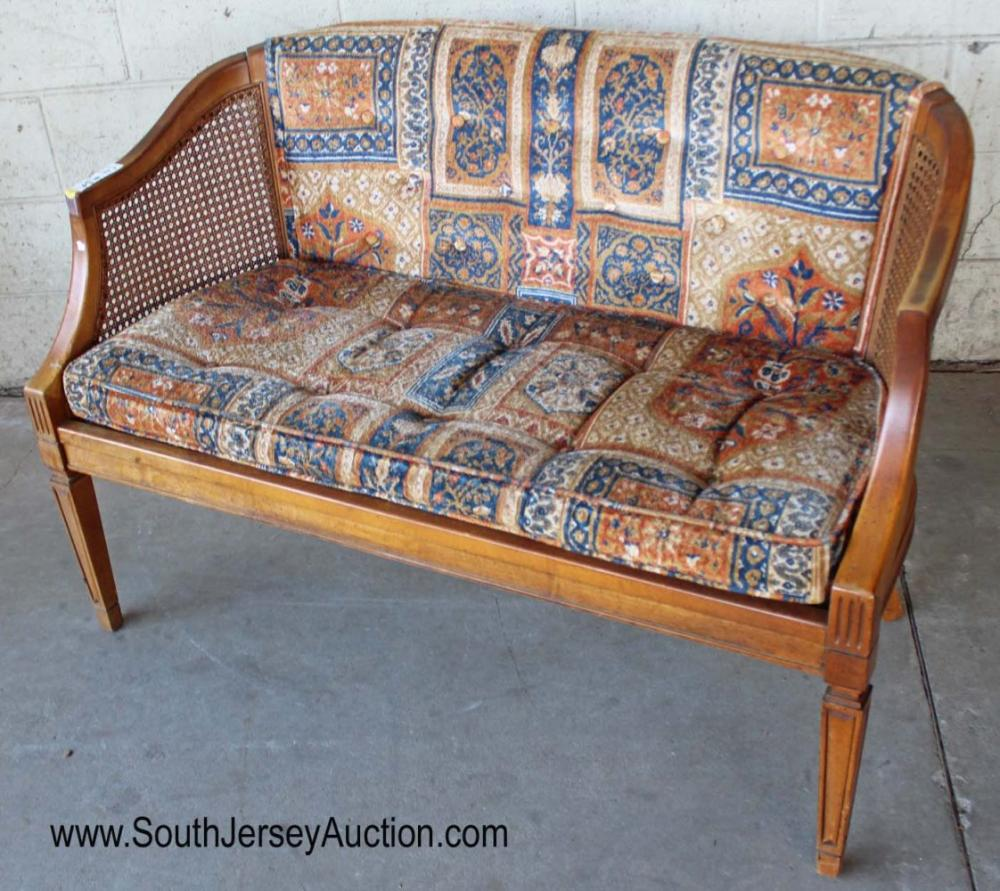Vintage Upholstered and Cane Settee