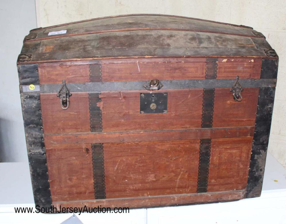 Antique Dome Top Metal Strap Trunk