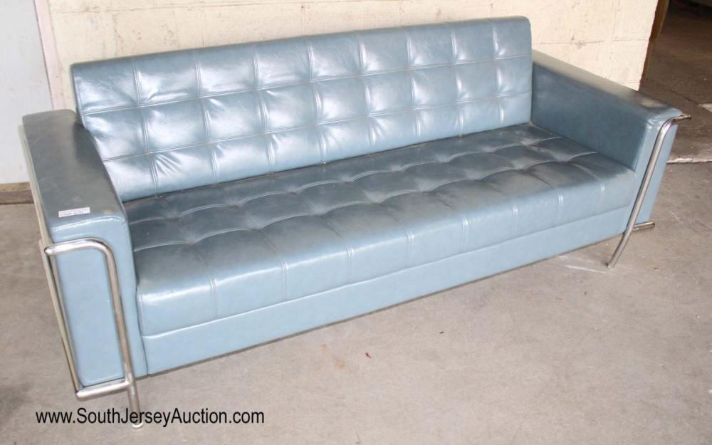 New Modern Design Seafoam Leather Blue Button Tufted Sofa - 2 Legs Bent, 2 legs straight
