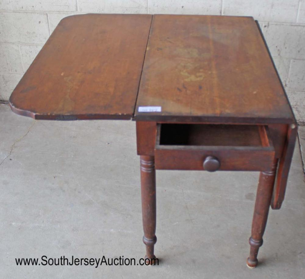 Antique 1 Drawer Solid Mahogany Drop Side Breakfast Table