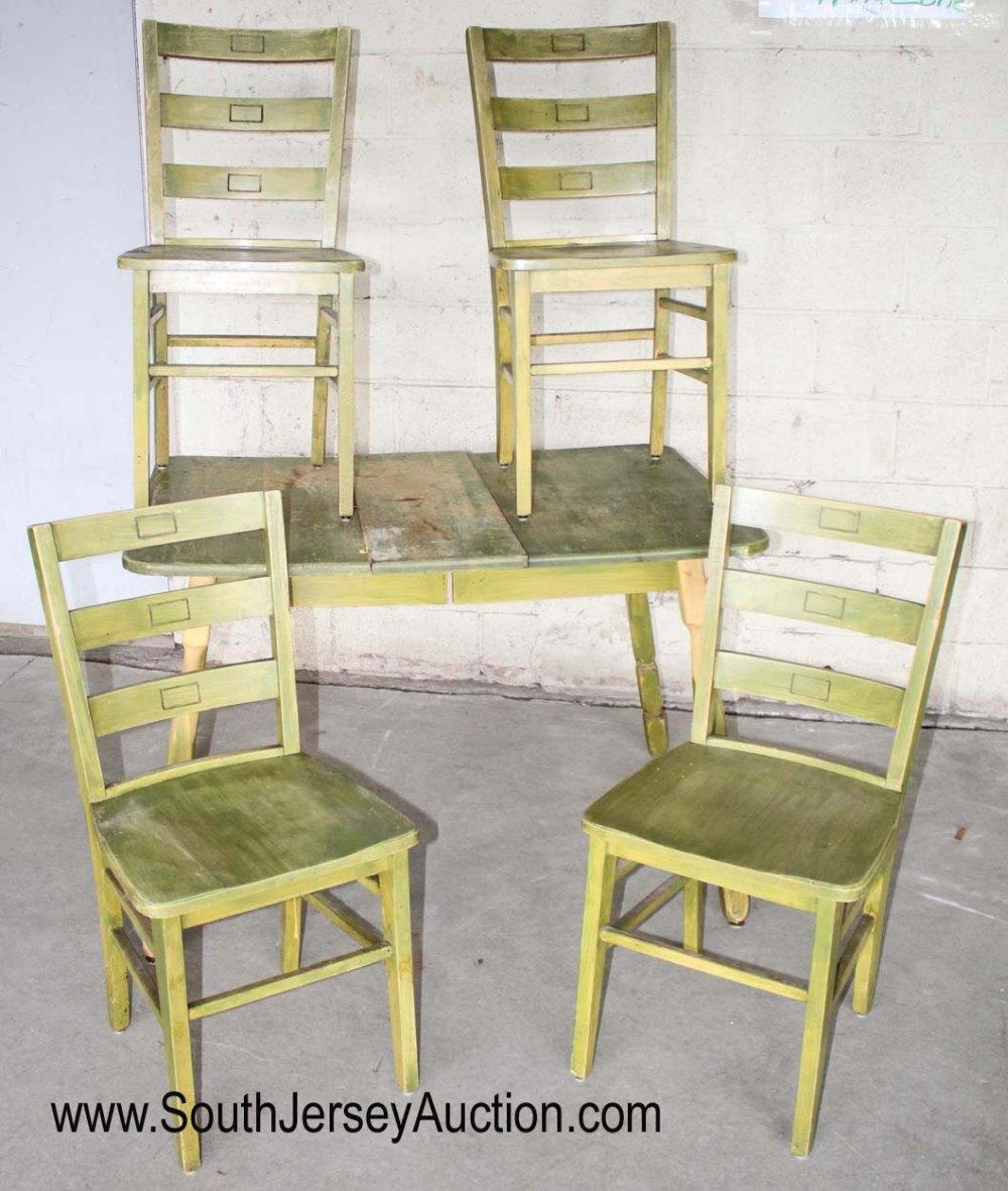 5 Piece Green Washed Decorated Breakfast Set Table with 4 Chairs