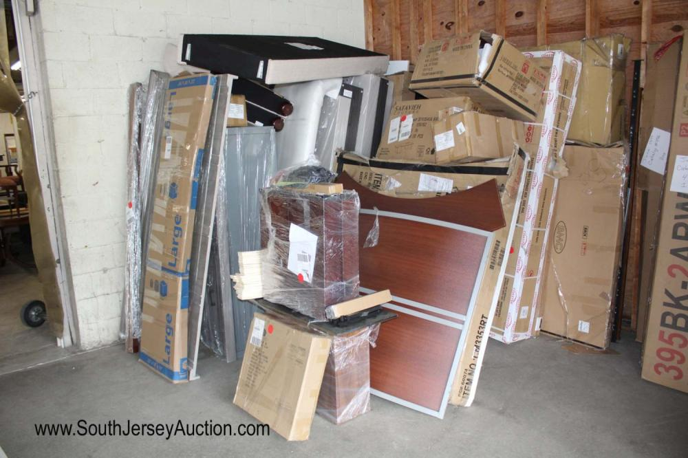 Large Lot of Over 20+Plus Boxes of Miscellaneous New Goods including: Headboards, Rails, Desk, Table Bases and More
