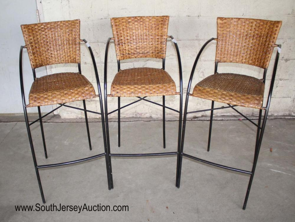 Set of 3 Wicker and Metal Bar Stools