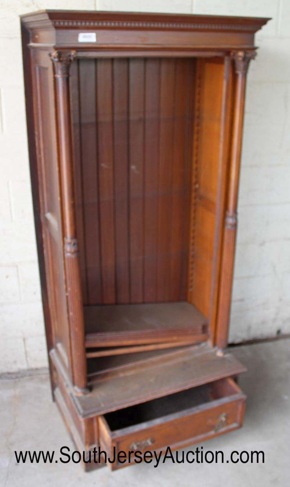 Antique Walnut Victorian Bookcase with Carved Corbels and 1 Drawer