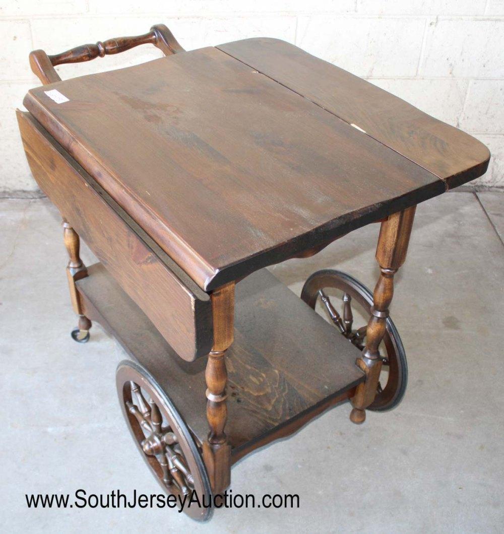 Knotty Pine Drop Side Tea Cart