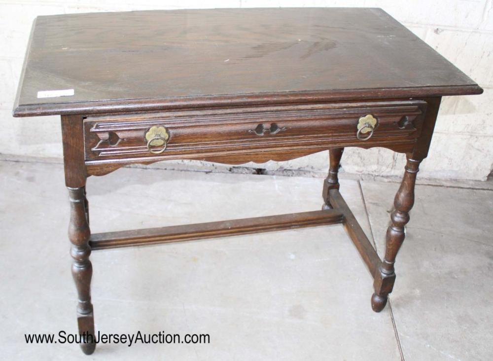 Antique Oak 1 Drawer Desk by Gimbel Brothers