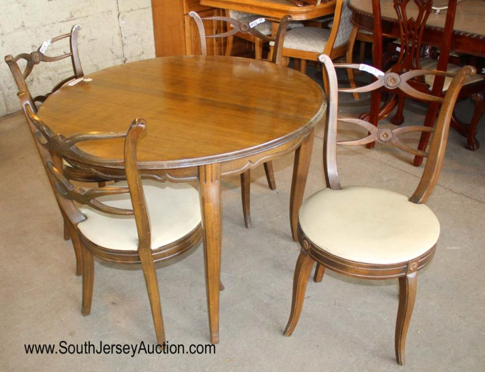 """5 Piece Mahogany Vintage Kitchen Bridge Set with 42"""" Diameter Table and 4 Chairs"""