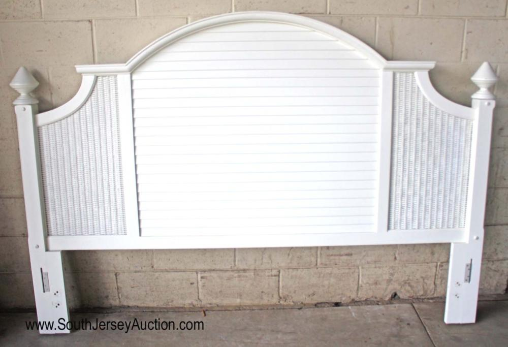 King Size White Cane Paint Decorated Head Board