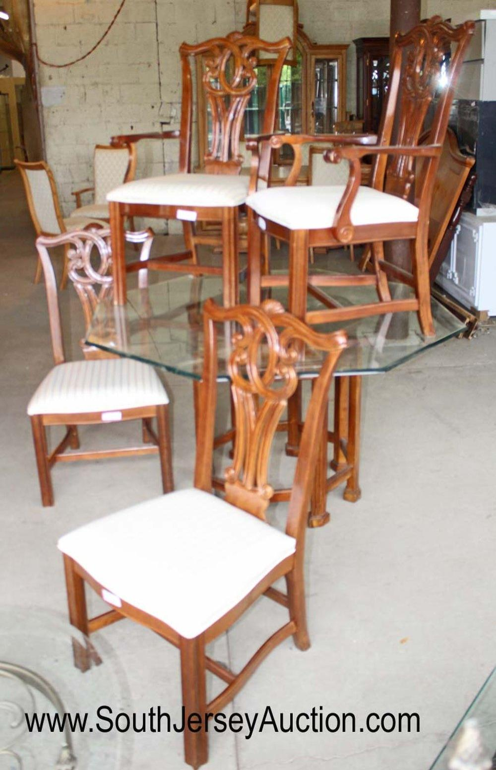 5 Piece Mahogany Glass Top Octagon Breakfast Table with 4 Chippendale Style Chairs