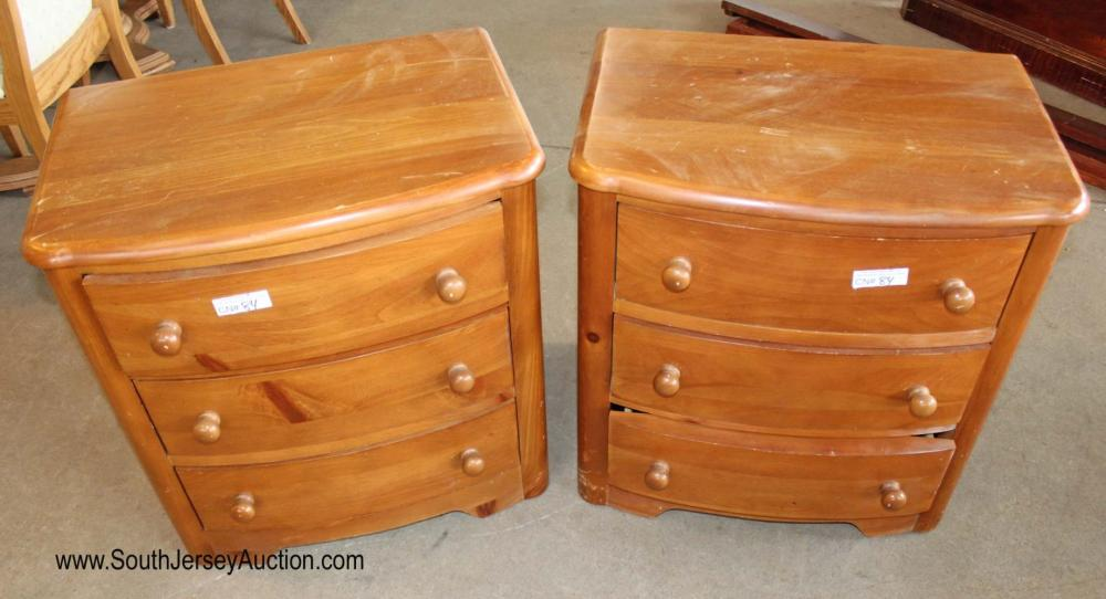 Pair of Country Style Pine 3 Drawer Night Stands by Stanley Furniture