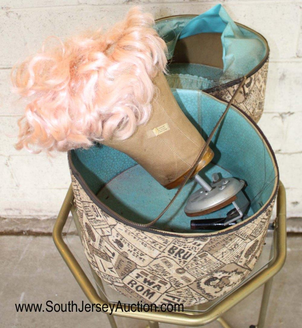 Vintage Hat Box with Mannequin Head and Pink Wig