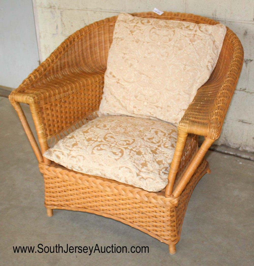 Vintage Wicker Chair with Cushions