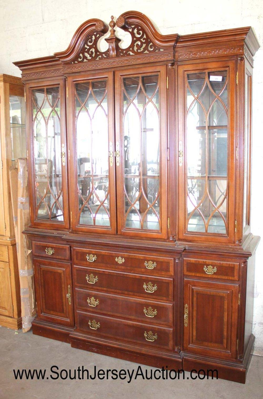 Contemporary 2 Piece Mahogany Chippendale Style China Cabinet