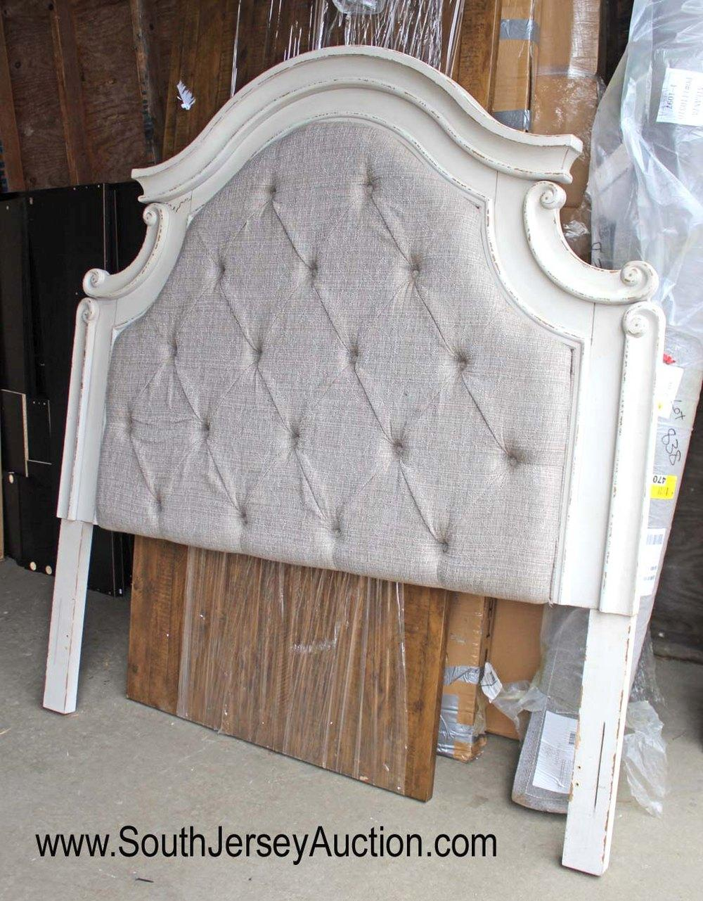 New Shabby Chic Upholstered Queen Headboard with Slight Damage